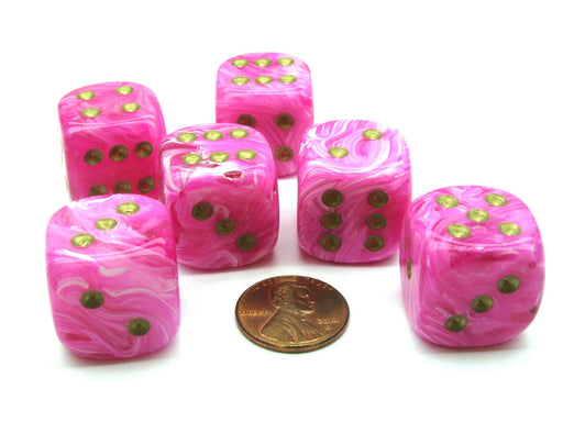 Vortex 20mm Big D6 Chessex Dice, 6 Pieces - Pink with Gold Pips