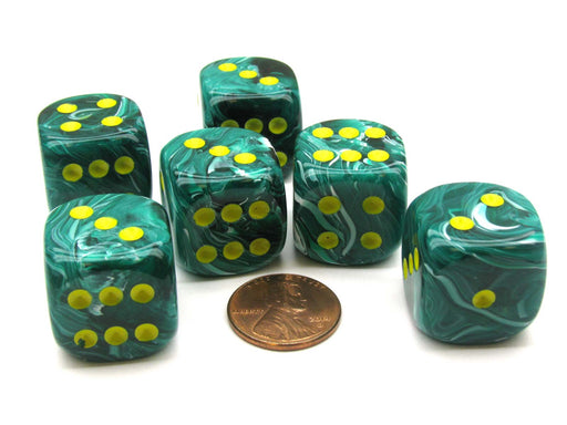 Vortex 20mm Big D6 Chessex Dice, 6 Pieces - Malachite Green with Yellow Pips
