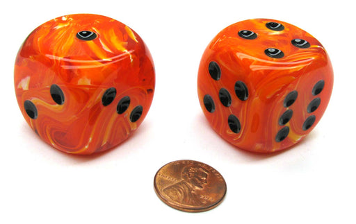 Vortex 30mm Large D6 Chessex Dice, 2 Pieces - Orange with Black Pips