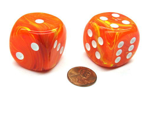 Vortex 30mm Large D6 Chessex Dice, 2 Pieces - Solar with White Pips