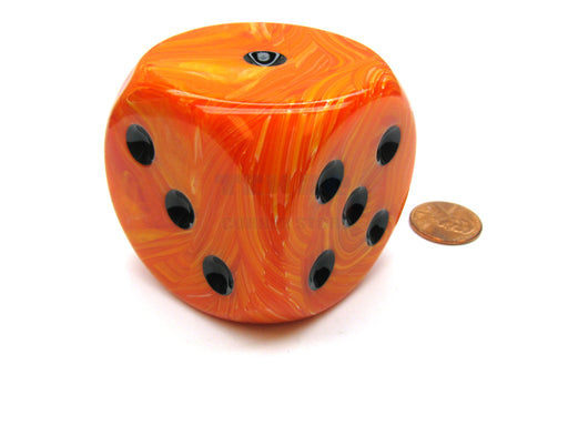 Vortex 50mm Huge Large D6 Chessex Dice, 1 Piece - Orange with Black Pips