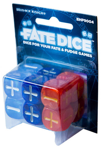 Fate Dice for Fate & Fudge Games - 12 D6 Dresden Files Winter Knight Dice