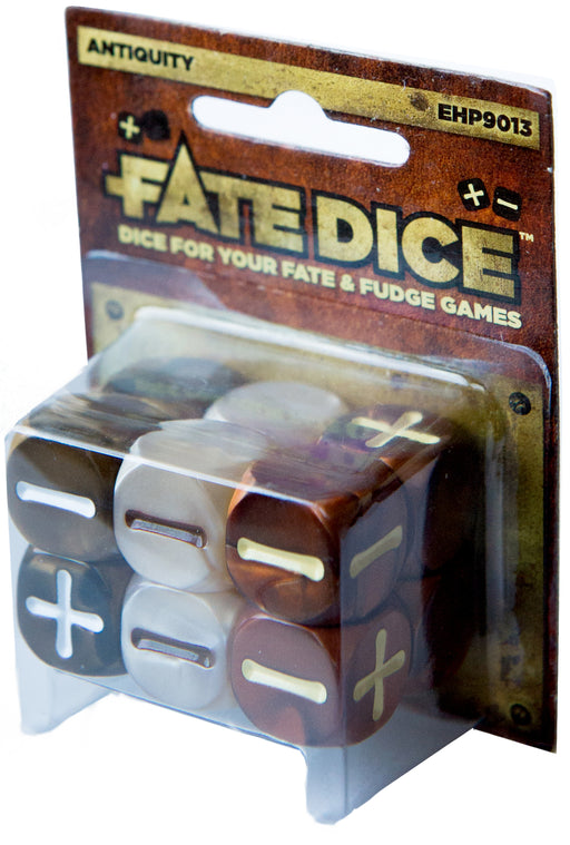 Fate Dice for Fate & Fudge Games by Evil Hat Productions - 12 D6 Antiquity Dice