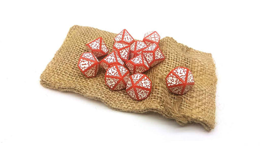 Blood & Plunder Pack of 12 D10 English Nationality Dice - Red with White