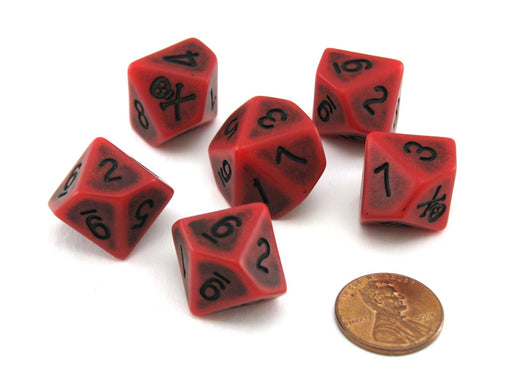 Blood & Plunder Blood D10 Dice Set - 6 Red 10-Sided Dice