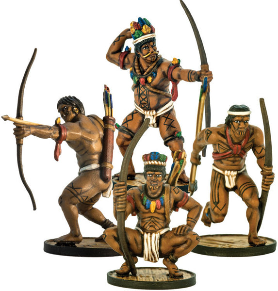 Blood & Plunder Native American Young Warriors Unit (4) Unpainted Metal Minis