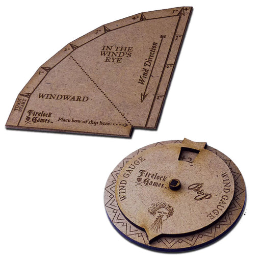 Blood & Plunder Template Set: Wooden Turning Gauge and Wind Direction Compass