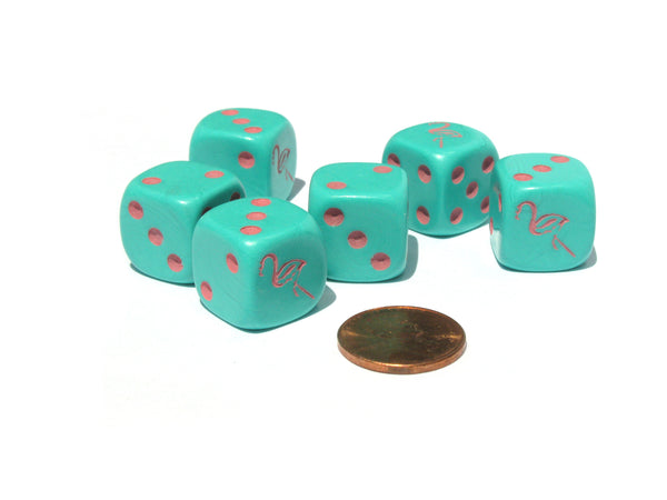 Set of 6 Flamingo 16mm D6 Round Edged Koplow Animal Dice - Aqua with Pink Pips