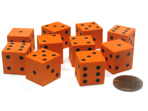 Set of 10 D6 16mm Foam Dice with Square Corners - Orange with Black Spots