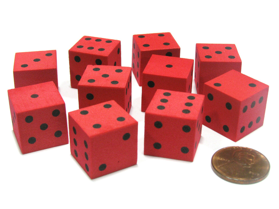 Set of 10 D6 16mm Foam Dice with Square Corners - Red with Black Spots