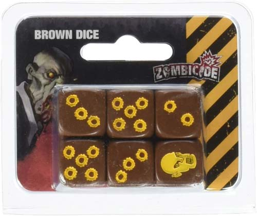 Zombicide: 6 Pack of Brown Dice with Yellow Pips