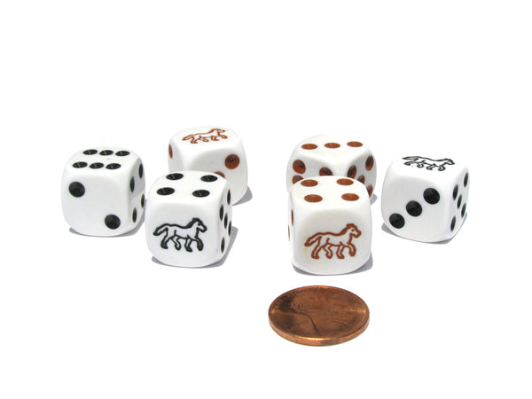 Set of 6 Horse 16mm Koplow Animal Dice - White with 3 Black and 3 Brown Pips