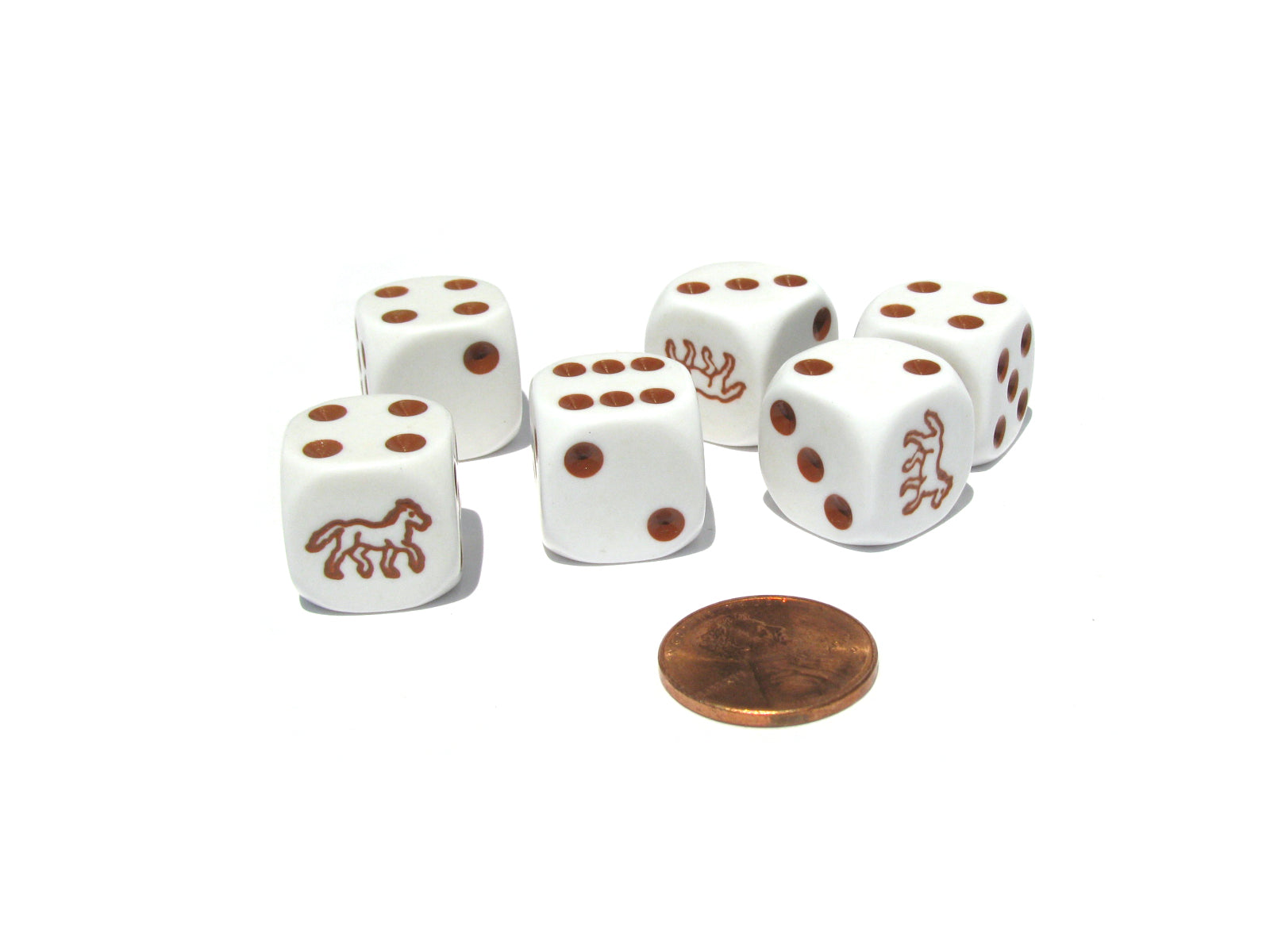 Set of 6 Horse 16mm D6 Round Edged Koplow Animal Dice - White with Brown Pips