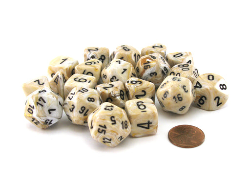 Bag of 20 Marble Polyhedral Dice - Ivory with Black Numbers