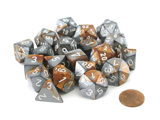Bag of 20 Gemini Polyhedral Dice- Copper-Steel with White Numbers