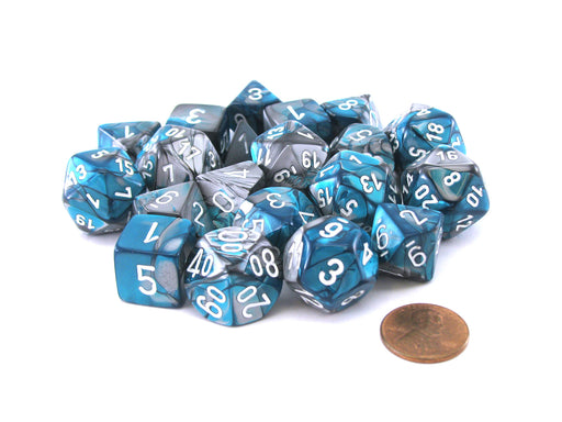 Bag of 20 Gemini Polyhedral Dice - Steel-Teal with White Numbers