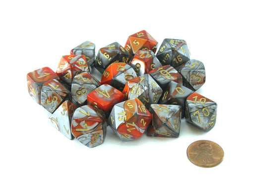 Bag of 20 Gemini Polyhedral Dice - Orange-Steel with Gold Numbers