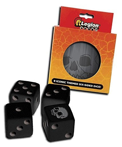 Legion Pack of 9 D6 16mm Iconic Dice in Matching Tin - Skull