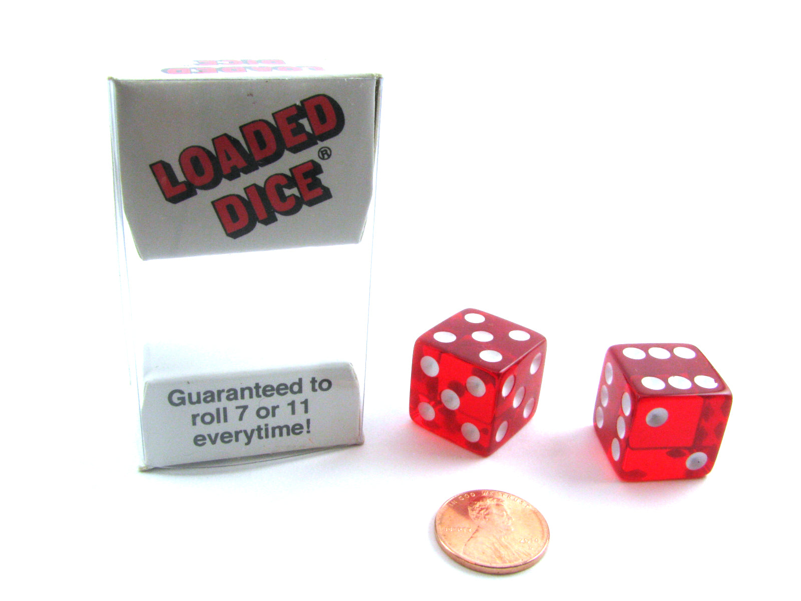 Set of 2 19mm D6 Mis-Spotted Trick Dice - Transparent Red with White Pips