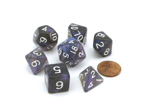 Acrylic Stardust 7-Die Polyhedral 16mm Dice Set - Galaxy