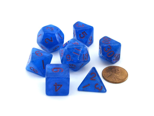 Acrylic Stardust 7-Die Polyhedral 16mm Dice Set - Blue with Purple Numbers
