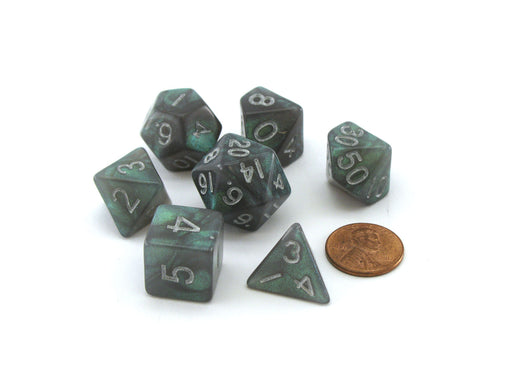 Acrylic Stardust 7-Die Polyhedral 16mm Dice Set - Gray with Silver Numbers