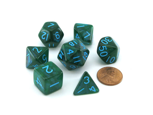Acrylic Stardust 7-Die Polyhedral 16mm Dice Set - Green with Blue Numbers