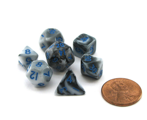 Mini 10mm Polyhedral Dice Set, 7 Pieces - Marble with Blue Numbers