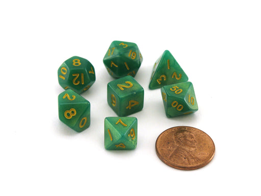 Mini 7-Die Polyhedral Dice Set - Green and Light Green with Gold Numbers