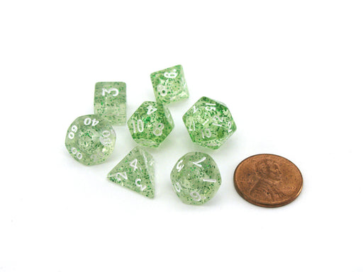 Mini 7-Die Polyhedral Dice Set - Ethereal Green with White Numbers