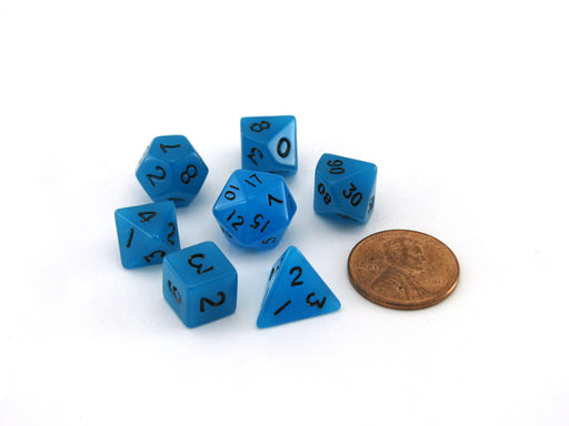 Mini 7-Die Polyhedral Dice Set - Glow Blue with Black Numbers