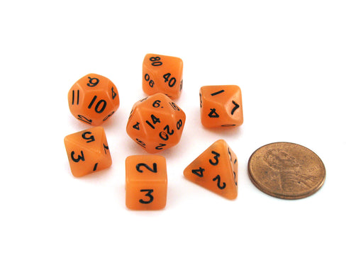 Mini 7-Die Polyhedral Dice Set - Glow Orange with Black Numbers