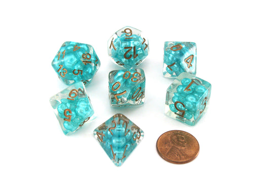 Pearl Resin 16mm 7-Die Polyhedral Dice Set - Teal with Copper Numbers