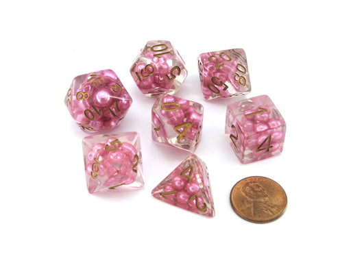 Pearl Resin 16mm 7-Die Polyhedral Dice Set - Pink with Copper Numbers
