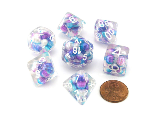 Pearl Resin 16mm 7-Die Polyhedral Dice Set - Gradient Purple Teal with White