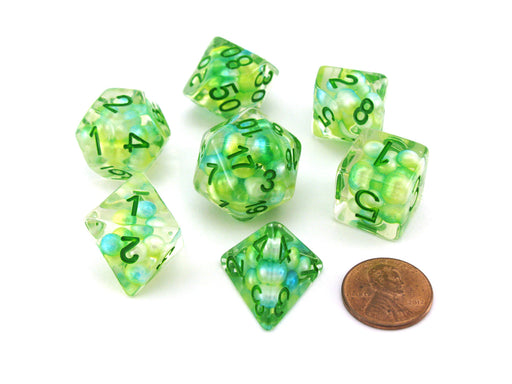 Pearl Resin 16mm 7-Die Polyhedral Dice Set - Sea Foam with Green Numbers