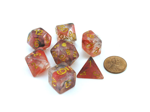 Unicorn Resin 16mm 7-Die Polyhedral Dice Set - Phoenix Ash