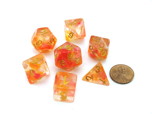 Unicorn Resin 16mm 7-Die Polyhedral Dice Set - Mystic Embers