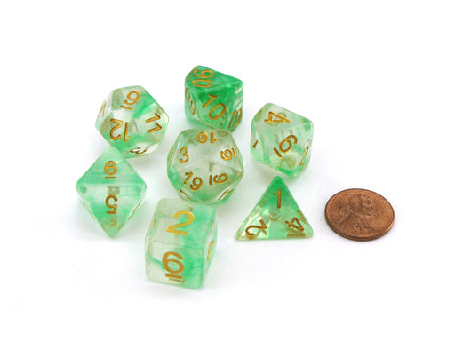 Unicorn Resin 16mm 7-Die Polyhedral Dice Set - Icy Everglades