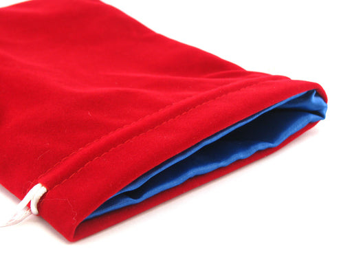 Large 6in x 8in Velvet Dice Bag with Satin Lining - Red with Blue Lining