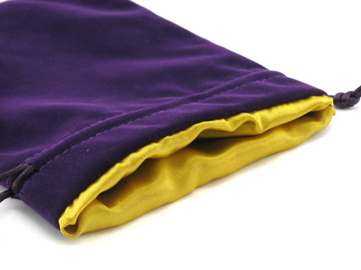 Large 6in x 8in Velvet Dice Bag with Satin Lining - Purple with Gold Lining