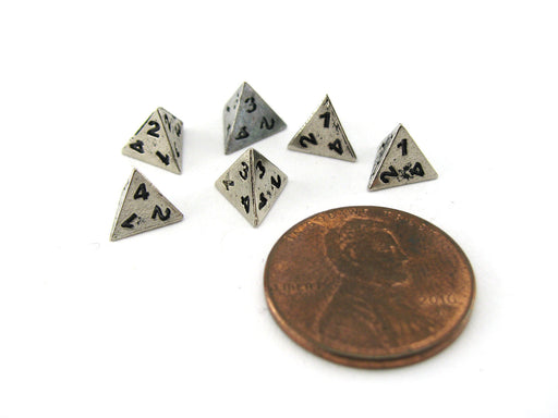 Micro Metal 5mm Silver Colored Chessex Dice, 6 Pieces - D4