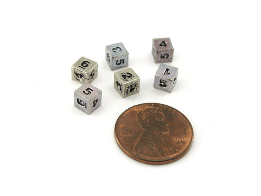 Micro Metal 5mm Silver Colored Chessex Dice, 6 Pieces - D6