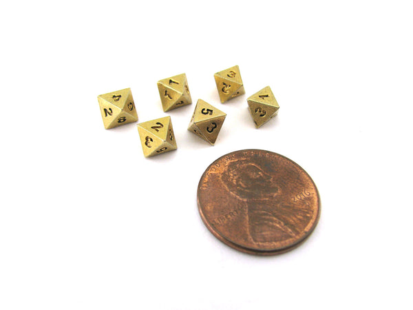 Micro Metal 5mm Gold Colored Chessex Dice, 6 Pieces - D8