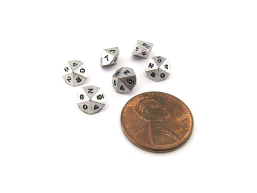 Micro Metal 5mm Silver Colored Chessex Dice, 6 Pieces - D10