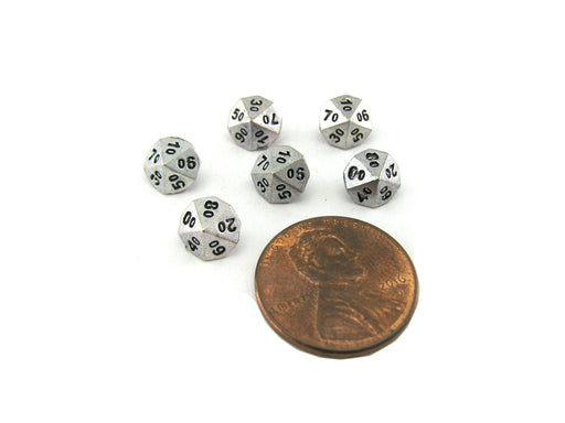Micro Metal 5mm Silver Colored Chessex Dice, 6 Pieces - Tens D10