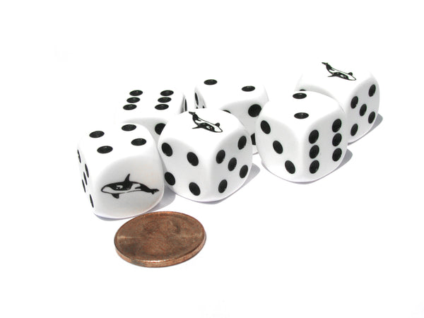 Set of 6 Orca Whale 16mm D6 Round Edge Koplow Animal Dice- White with Black Pips