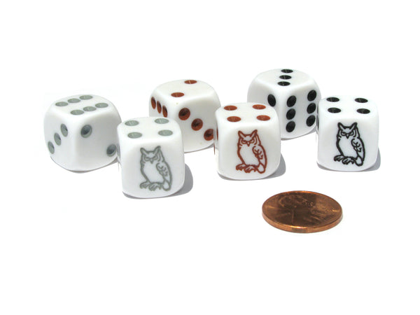 Set of 6 Owl 16mm Dice - 2 Each of White with Black, Brown, and Gray Pips
