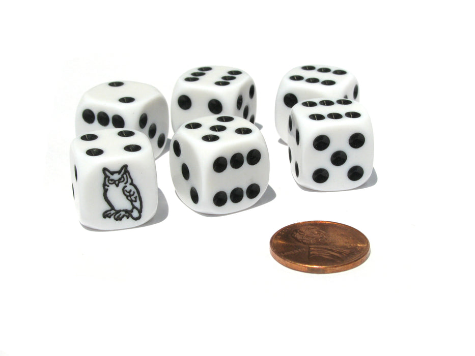 Set of 6 Owl 16mm D6 Round Edged Koplow Animal Dice - White with Black Pips