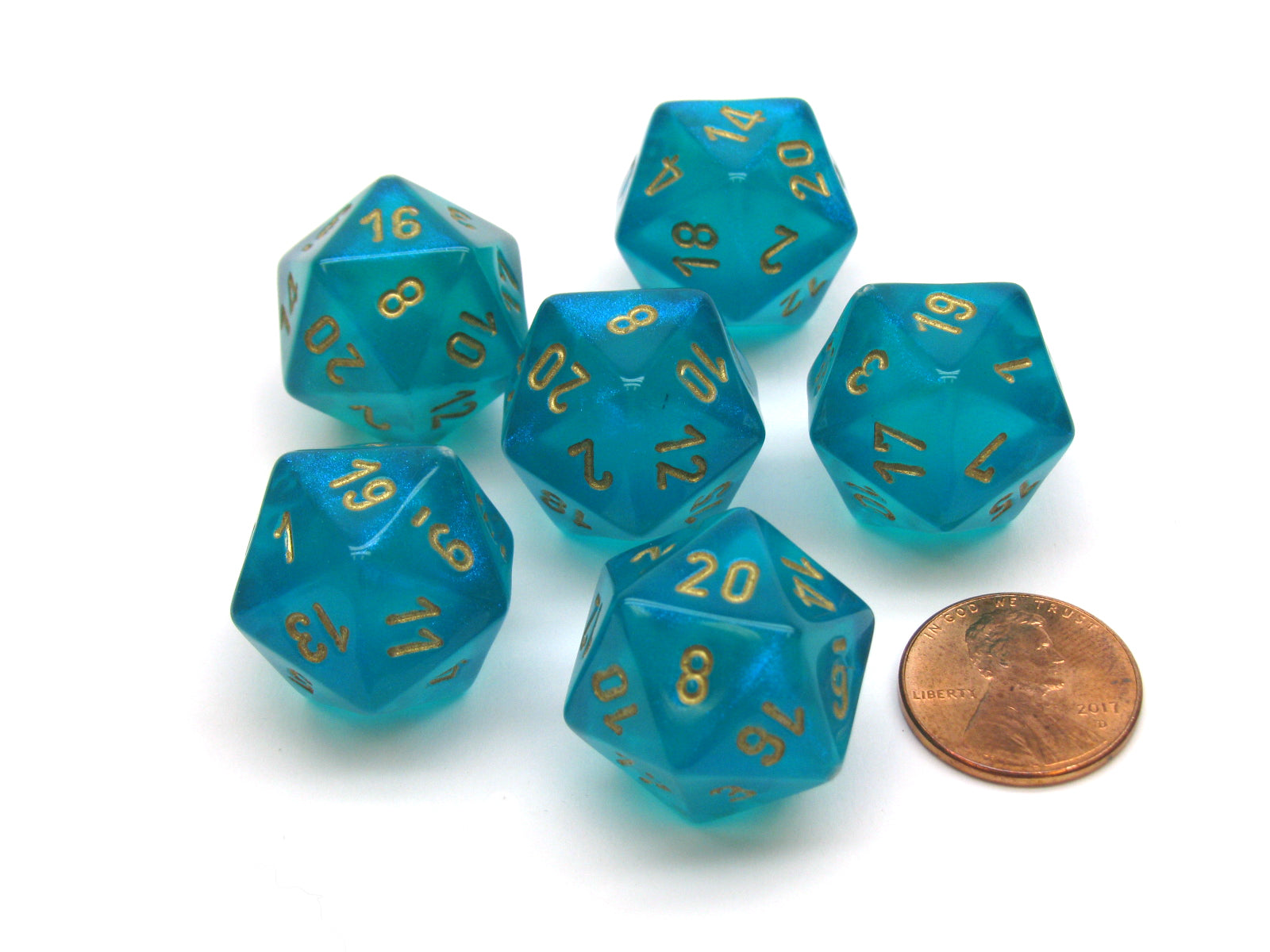 Borealis 20 Sided D20 Chessex Dice, 6 Pieces - Teal with Gold Numbers